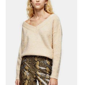 TOPSHOP NEW Oat Knitted Brushed Bardot Sweater